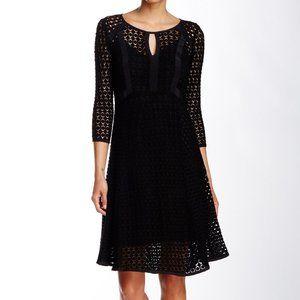 NANETTE LEPORE Black Drumbeat Crocheted Lace Dress